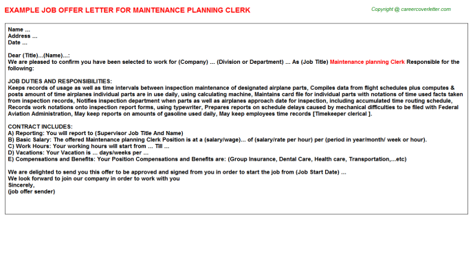maintenance planning clerk offer letter template