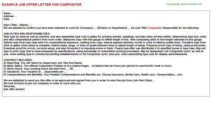 Compositor Job Offer Letter Template