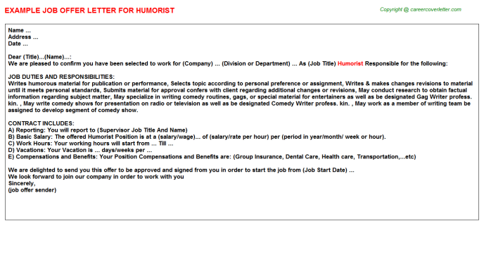 Humorist Job Offer Letter Template