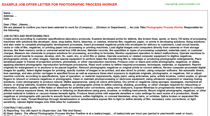Photographic Process Worker Job Offer Letter Template