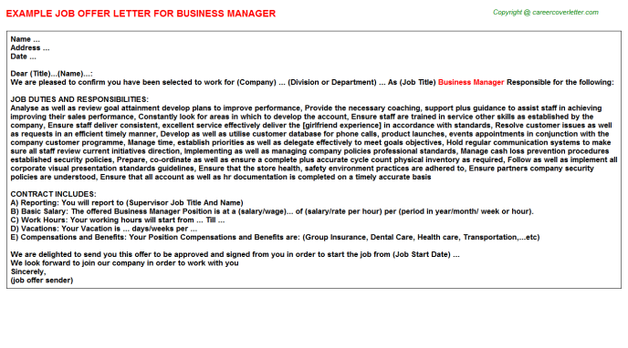 Business Manager Offer Letter Template