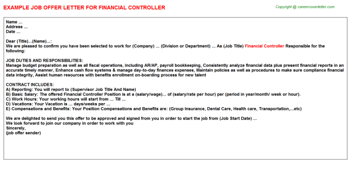 Financial Controller Offer Letter Template