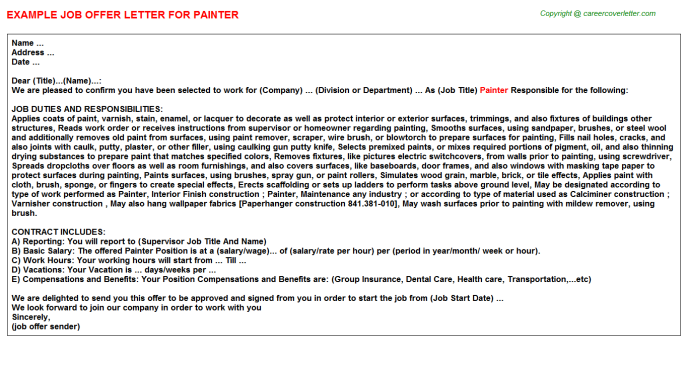 painter offer letter template