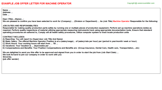 Machine Operator Offer Letter Template