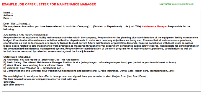 Maintenance Manager Offer Letter Template