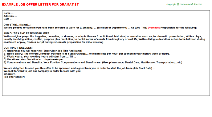 Dramatist Offer Letter Template