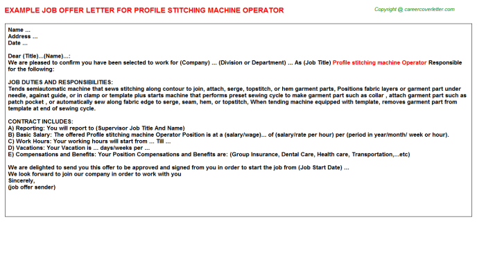 profile stitching machine operator offer letter template