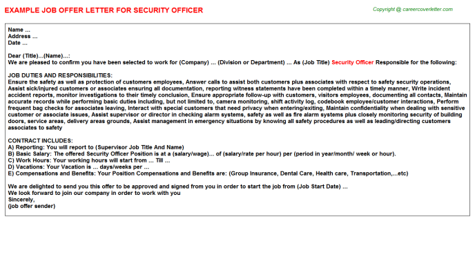 Security Officer Job Offer Letter Template