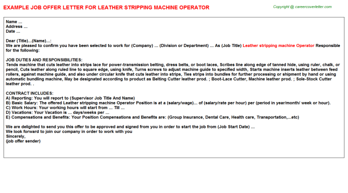 Leather Stripping Machine Operator Job Offer Letter Template