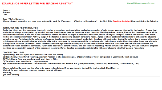 Teaching Assistant Offer Letter Template