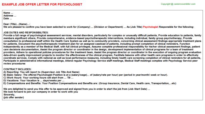 Psychologist Job Offer Letter Template