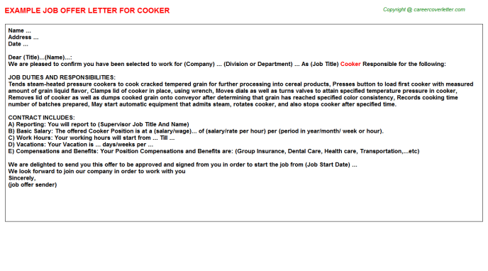 Cooker Offer Letter Template