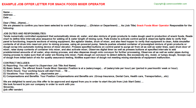 snack foods mixer operator offer letter template