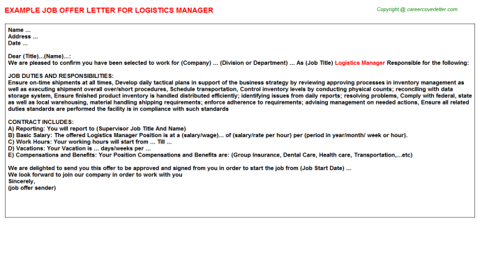 Logistics Manager Offer Letter Template