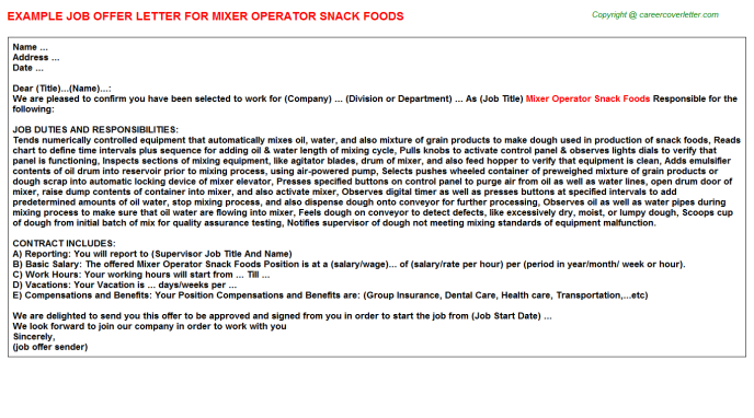 mixer operator snack foods offer letter template