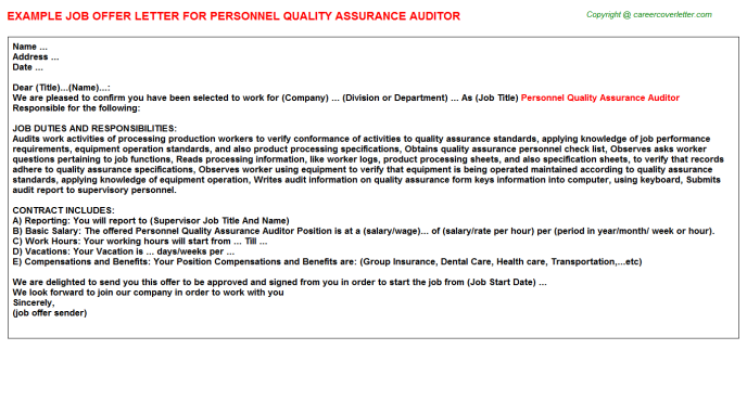 personnel quality assurance auditor offer letter template