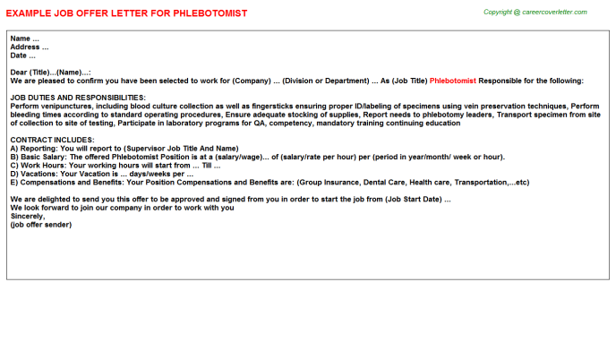 Phlebotomist Offer Letter Template