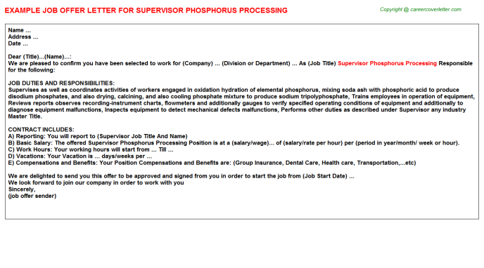 Supervisor Phosphorus Processing Offer Letter Template