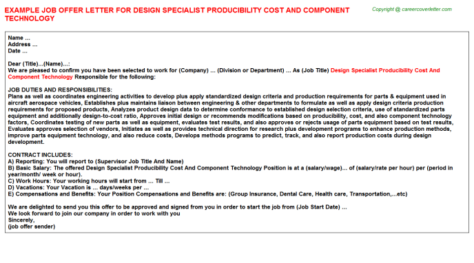 Design specialist producibility cost and component technology job offer letter (#28)