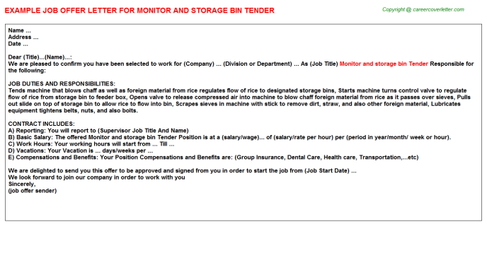 monitor and storage bin tender offer letter template