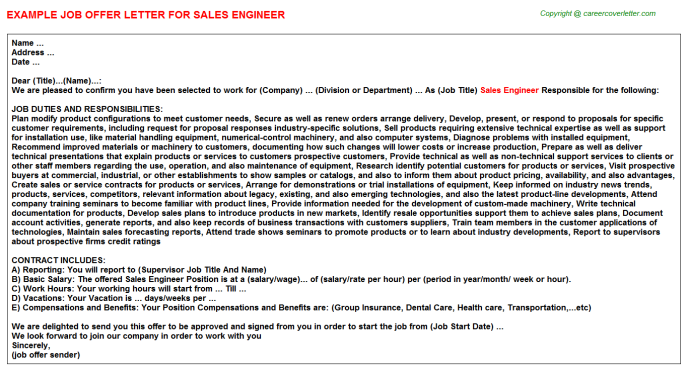Sales Engineer Offer Letter Template