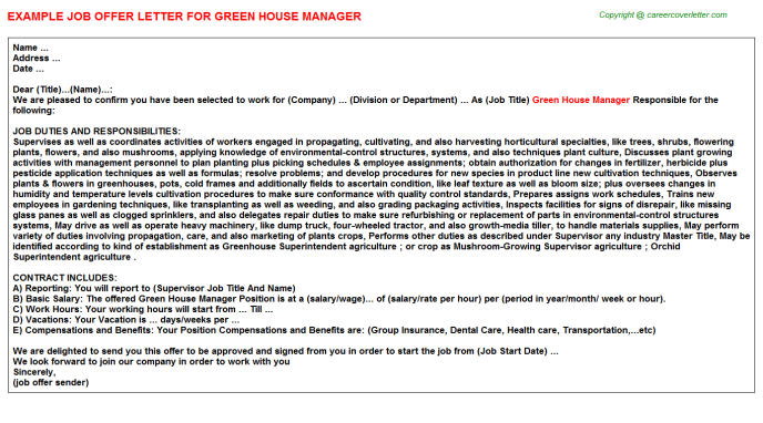 Green House Manager Offer Letter Template
