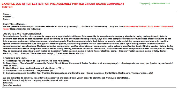 Pre Assembly Printed Circuit Board Component Tester Offer Letter Template