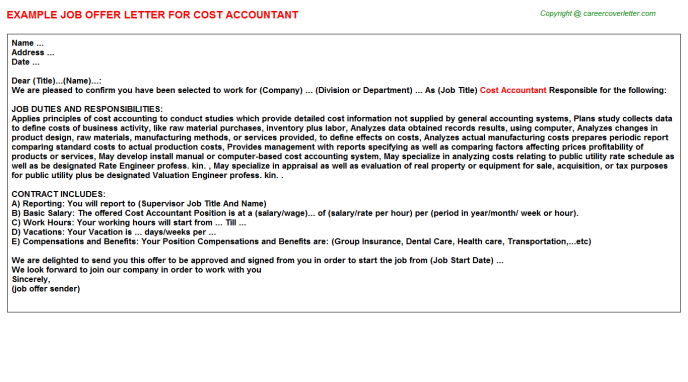 Cost Accountant Offer Letter Template