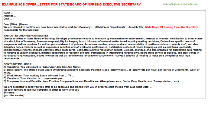 state board of nursing executive secretary offer letter template