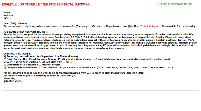Technical Support Offer Letter Template