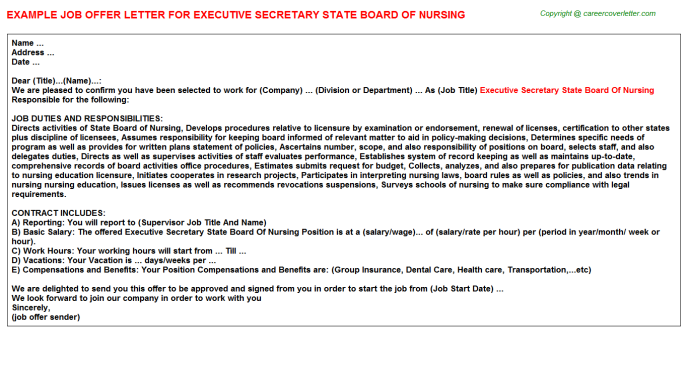executive secretary state board of nursing offer letter template