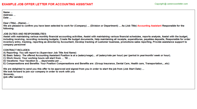 Accounting Assistant Job Offer Letter Template