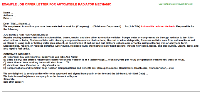 Automobile radiator mechanic job offer letter (#12292)