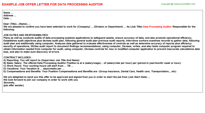 data processing auditor offer letter template