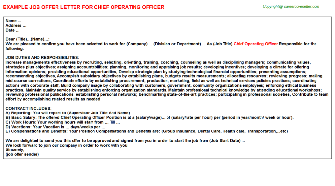 Chief Operating Officer Offer Letter Template