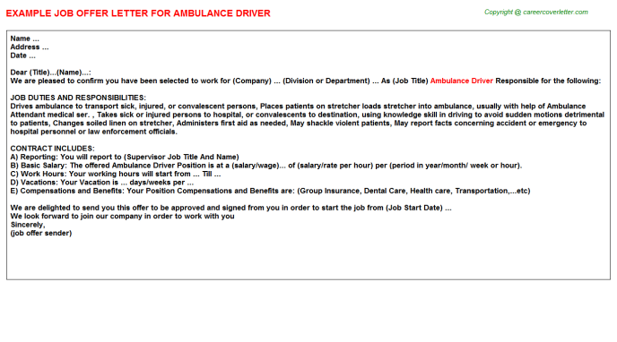 Ambulance Driver Offer Letter Template