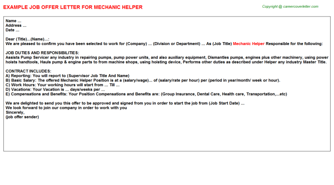 Mechanic helper job offer letter (#12794)