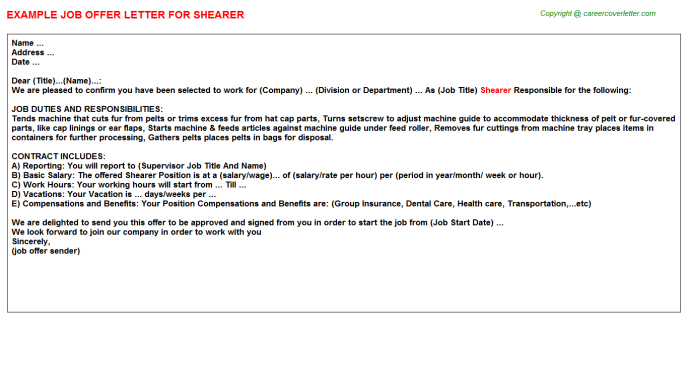 Shearer Job Offer Letter Template