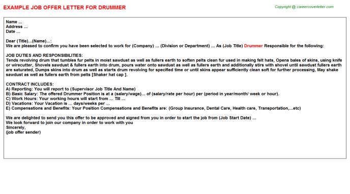 Drummer Offer Letter Template