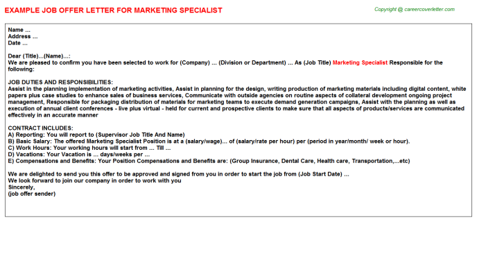 Marketing Specialist Offer Letter Template