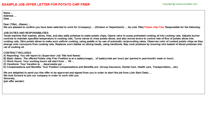 Potato Chip Frier Job Offer Letter Template