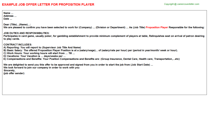 Proposition Player Job Offer Letter Template