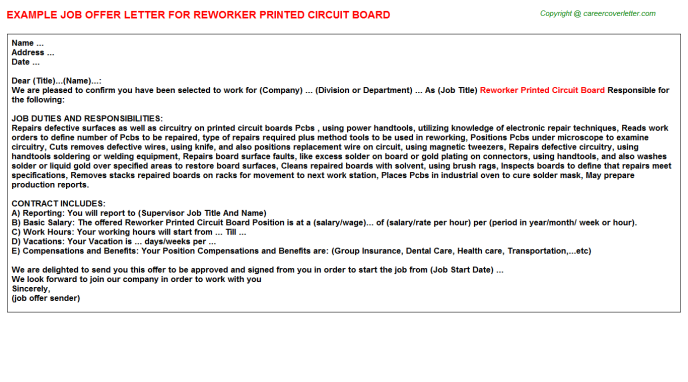 Reworker Printed Circuit Board Offer Letter Template