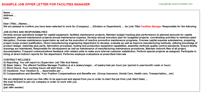 Facilities Manager Offer Letter Template