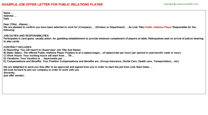 public relations player offer letter template
