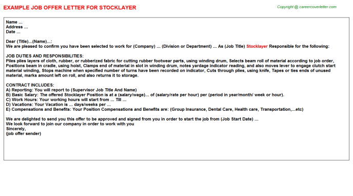 Stocklayer Offer Letter Template