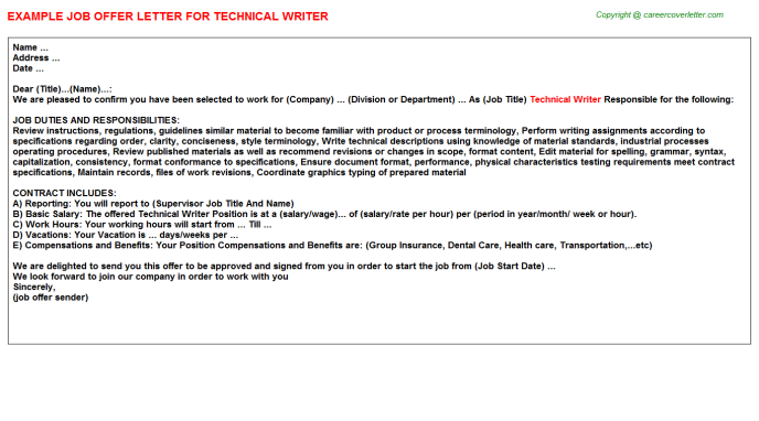 Technical Writer Offer Letter Template