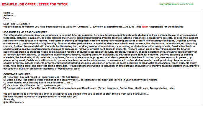 Tutor Offer Letter Template