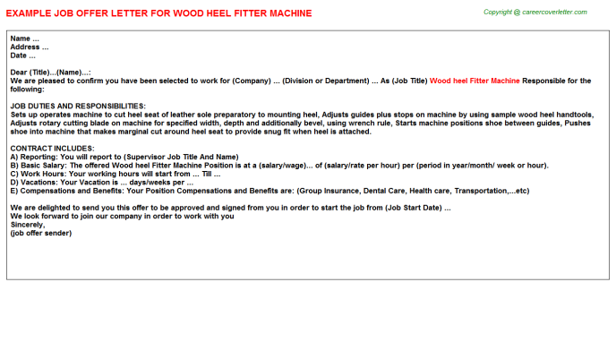 Wood heel Fitter Machine Offer Letter Template