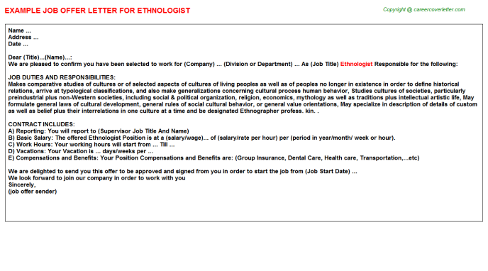 Ethnologist Job Offer Letter Template
